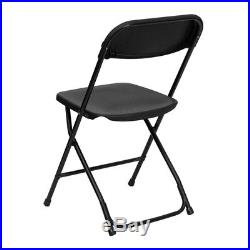 (10 PACK) 650 Lbs Weight Capacity Commercial Quality Black Plastic Folding Chair