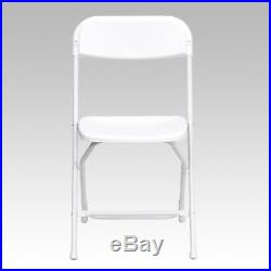 (10 PACK) 650Lbs Weight Capacity White Plastic Folding Chair Commercial Quality