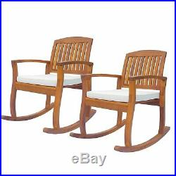 1PC/2PC Acacia Wood Outdoor Rocking Chair Patio Furniture Porch Rocker Balcony