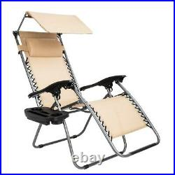 1PC Zero Gravity Folding Patio Lounge Beach Chair with Canopy Sunshade Cup Holder