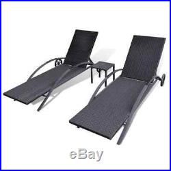 2 Deck Lawn Pool Patio Rattan Adjustable Lounge Chair SunBed Furniture Table Set