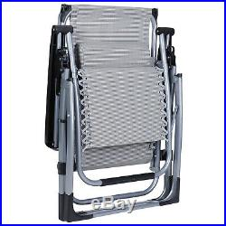 2 Folding Recliner Zero Gravity Chairs Large Heavy Duty Deck Lounge Canopy Trays