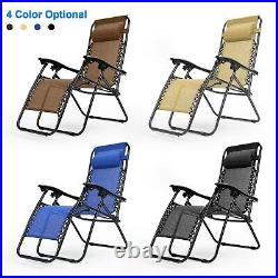 2 Folding Zero Gravity Chairs Lounge Beach Camp Recliner with 2 Cup Holders 330lbs