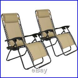 2 Folding Zero Gravity Reclining Lounge Chairs+Utility Tray Outdoor Beach Patio