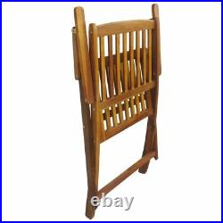 2 Garden Chairs Wooden Outdoor Folding Dining Chair 2 Wood Seater Armrest Patio