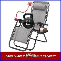 2 Gray Zero Gravity Chairs Chaise Lounge Garden Beach Camping Folding Recliner