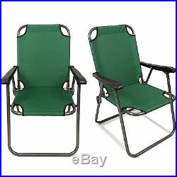 2 Green Outdoor Patio Folding Beach Chair Camping Chair Arm Lightweight Portable