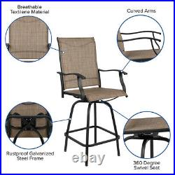 2 PACK Bar Height All-Weather Patio Swivel Barstool, Brown Fabric & Metal Base