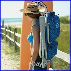 2 PACK Tommy Bahama Backpack Beach Folding Deck Chair Blue BRAND NEW 2021