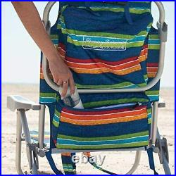 2 PACK Tommy Bahama Backpack Beach Folding Deck Chair Blue Green Stripes 2020