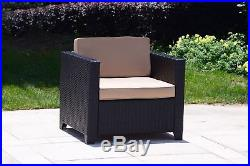 2 PC Patio Rattan Wicker Sectional Chair Set Outdoor Dining Garden Lounge Seat