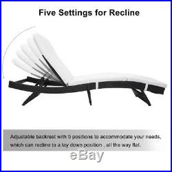 2 PCS Adjustable Chaise Lounge Chair Outdoor Patio Furniture PE Wicker Cushions