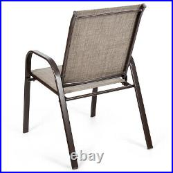 2 PCS Patio Chairs Outdoor Dining Chair Heavy Duty Steel Frame withArmrest