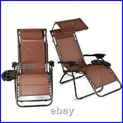 2 PCS Zero Gravity Chair Lounge Patio Folding with Canopy Cup Holder (3 Color)
