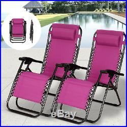 2 PCS Zero Gravity Folding Lounge Beach Chairs Outdoor Recliner Great Purple