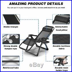 2 Pcs Zero Gravity Folding Lounge Beach Patio Chairs With Magazine Cup Holder US