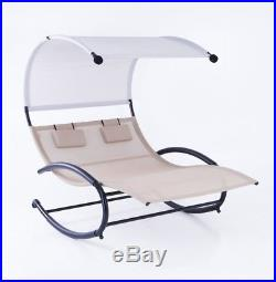2-Person Chaise Rocker Patio Furniture Lounger Chair Bed Swing (Beige / Gray)