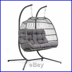 2 Person Egg Hanging Patio Chair Outdoor Furniture Swing Wicker Cushion Frame