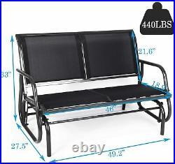 2 Person Garden Rocking Chair Metal Glider Bench Porch Seat Patio Park Loveseat