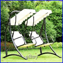2 Person Hammock Porch Swing Patio Outdoor Hanging Loveseat Canopy Glider Swing