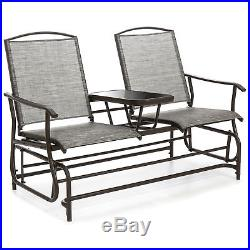 2-Person Outdoor Mesh Fabric Patio Double Glider with Tempered Glass Table (Gray)