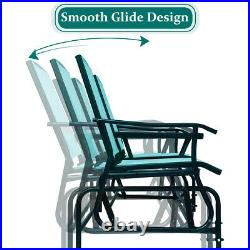 2 Person Outdoor Patio Double Glider Chair Loveseat Rocking Turquoise