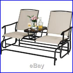 2 Person Outdoor Patio Double Glider Chair Loveseat Rocking with Center Table