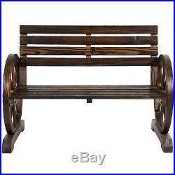 2 Person Rustic Wagon Wheel Bench Garden Loveseat Porch Patio Outdoor Seat Wood