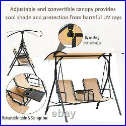 2 Person Steel Outdoor Porch Swing Chair Patio Bench with Storage Canopy, Beige