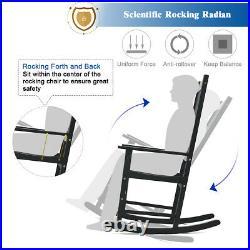 2 Pieces of Wood Rocking Chair Porch Rocker High Back Garden Seat Outdoor Black