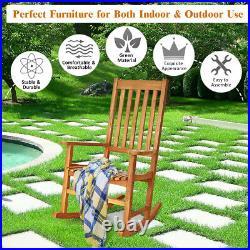 2 Pieces of Wood Rocking Chair Porch Rocker High Back Garden Seat Outdoor Teak