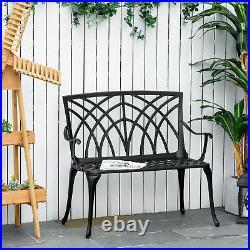 2-Seater Aluminium Garden Bench Decorative Patio Loveseat Ergonomic Armrest