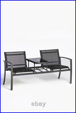 2 Seater Garden Bench Love Seat Chair with Glass Table Patio Deck Set Outdoor