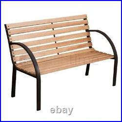 2 Seater Outdoor Wooden Garden Bench Cast Iron Slatted Legs Park Seat Furniture