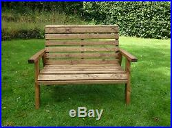 2 Seater Person Wooden Wood Garden Bench Love Seat Chair Patio Set Treated New