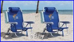 2 Tommy Bahama Backpack Beach Chair 5 Positions Capacity 300 lbs. Lays Flat