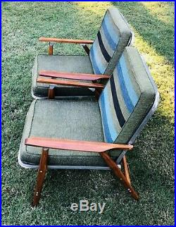2 Vintage Telescope Folding Aluminum/Wood Lawn Chairs withGreen Stripe Cushions