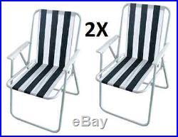 2 X Garden Patio Folding Striped Deck Picnic Camping Beach Bbq Party Chair Relax