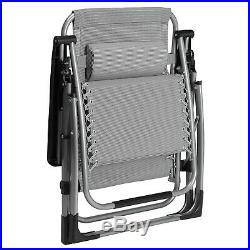2 X HeavyDuty Extra Thick Folding Zero Gravity Chair Recliner Square Frame 400LB