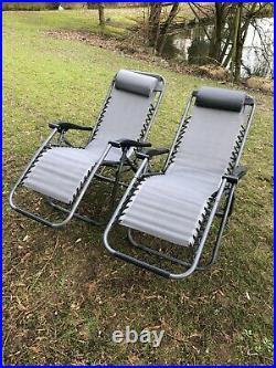 2 X Zero Gravity Folding Chair Adj / Recliner Sun Lounger Grey