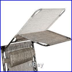 2 Zero Gravity Canopy Reclining Chairs Sun Beach Camping Folding Loung WithTrays