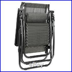 2 Zero Gravity Chairs Folding Recliner Patio Beach Garden Lounger Canopy & Trays