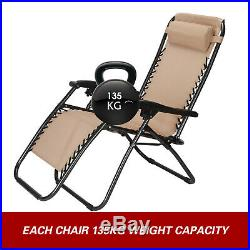 2 Zero Gravity Lounge Chairs Tan Recline Folding Portable Beach Patio Lawn Trays