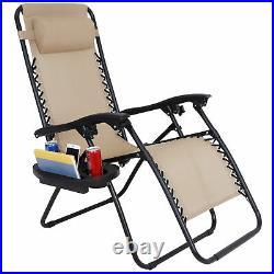 2 Zero Gravity Reclining Chairs Folding Garden Lounge Beach Lawn with Trays