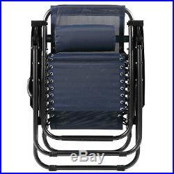 2 Zero Gravity Reclining Chairs Sun Beach Camping Folding Lounge WithPhone Holders