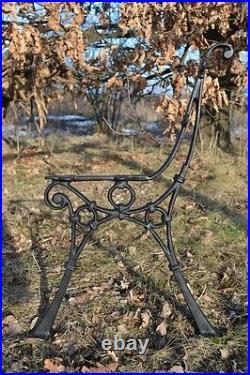 2 schöne Bankfüße Seitenteile Gartenbank aus Gusseisen Schwarz 4 Bretter-ZAG07