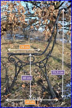 2 schöne Bankfüße Seitenteile Gartenbank aus Gusseisen Schwarz 5 Bretter-ZAG03