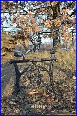 2 schöne Bankfüße Seitenteile Gartenbank aus Gusseisen Schwarz 5 Bretter-ZAG16