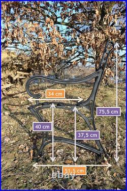 2 schöne Bankfüße Seitenteile Gartenbank aus Gusseisen Schwarz 6 Bretter-ZAG01