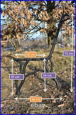 2 schöne Bankfüße Seitenteile Gartenbank aus Gusseisen Schwarz 7 Bretter-ZAG13